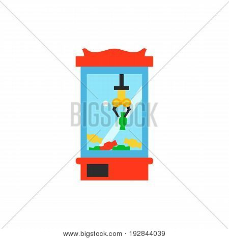 Vector icon of game machine for picking candies. Entertainment, fair, luck. Gambling concept. Can be used for topics like game, leisure, market