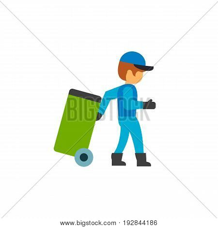 Garbage collector carrying trash bin. Public utilities, waste management, sanitation worker. Garbage collectors concept. Can be used for topics like sanitation, urban services, volunteering