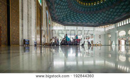 SURABAYA - MARCH 23 2016. Interior Al-Akbar Mosque Masjid Raya in Surabaya Indonesia.
