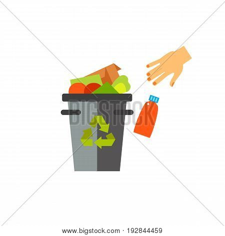 Vector icon of hand throwing garbage into bin. Recycling, waste management, trash bin. Garbage collectors concept. Can be used for topics like sanitation, ecology, environmental protection
