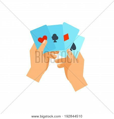 Vector icon of hand holding four aces. Poker, blackjack, victory. Gambling concept. Can be used for topics like addiction, leisure, casino