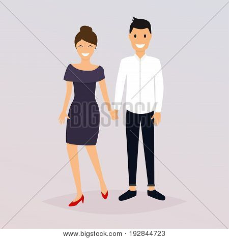 Couple Of Young People. Cartoon Character Romantic Couple. Girl, Boy Icon. Flat Design Modern Vector