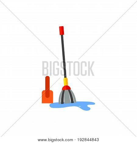 Vector icon of mop cleaning garbage. Cleaning service, housework, housekeeping. Garbage collectors concept. Can be used for topics like sanitation, hygiene, cleaning