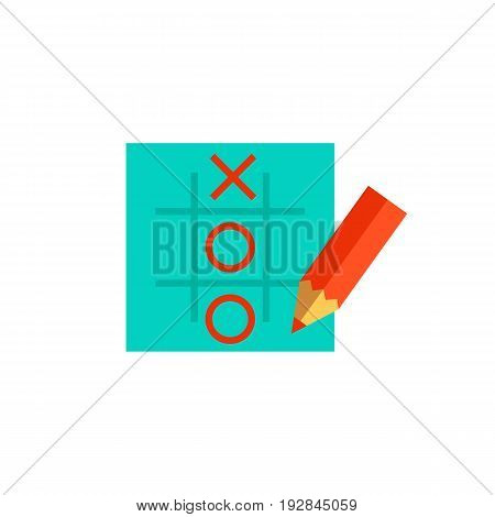 Icon of tic-tac-toe with pencil. Winning, drawing, wasting time. Board games concept. Can be used for topics like leisure, logic or competition