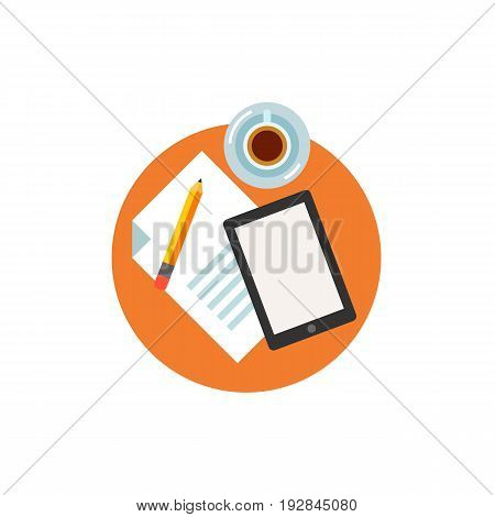 Icon of writing article. Coffee, tablet, paper, pencil. Blogging concept. Can be used for topics like inspiration, creativity, workspace or hobby