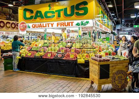 Adelaide Australia - November 12 2016: People shopping at Adelaide Central Market on a weekend. It is a popular tourist attraction in the CBD area and the most visited place in South Australia.
