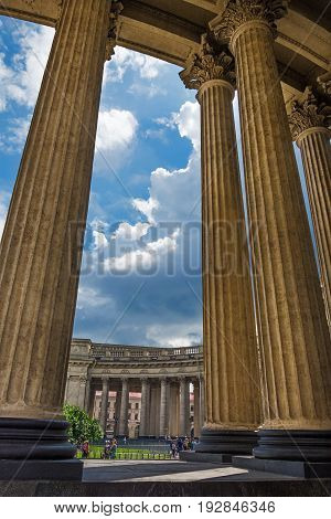 Majestic Colonnade Of The Kazan Cathedral