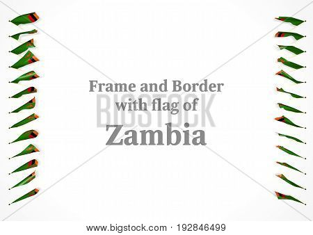 Frame And Border With Flag Of Zambia. 3D Illustration