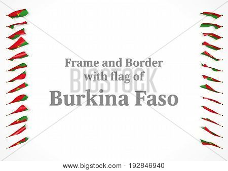 Frame And Border With Flag Of Burkina Faso. 3D Illustration