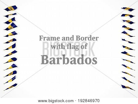 Frame And Border With Flag Of Barbados. 3D Illustration