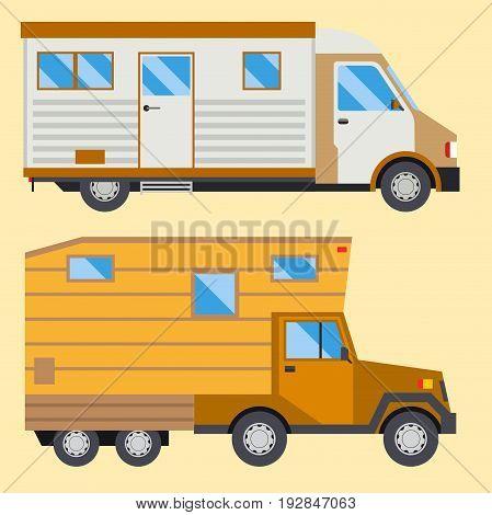 Campers vacation travel car summer nature holiday trailer house vector illustration flat transport. Classic caravan campsite automobile retro minivan camp vintage bus.