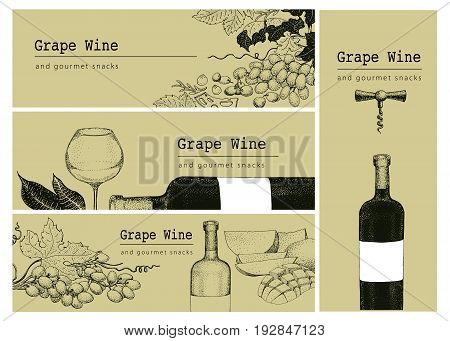 Vector template of card label or banner background with hand drawn illustrations grape wine bottlle and glass. Retro design background.