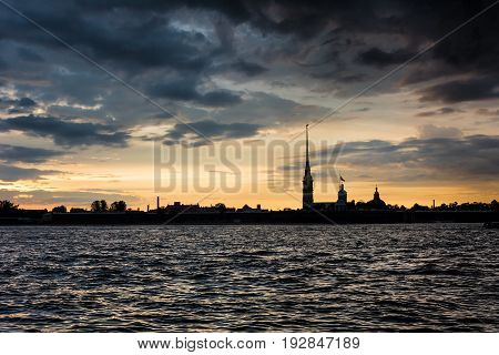 Colorful Sunset Over Peter And Paul Cathedral, St. Petersburg, Russia