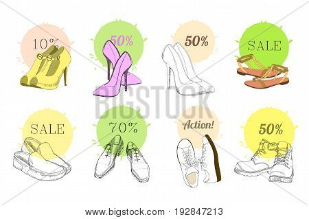 Vector illustration of Set hand drawn graphic Man and Women Footwear, shoes for store discount. Casual and sport style, gumshoes for Shoes for all seasons. Moccasins, sneakers, boots, pumps. Doodle, drawing Design isolated object.