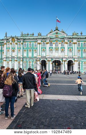 Tourists Stand In Queue Long Hours In The State Hermitage Museum, St. Petersburg, Russia