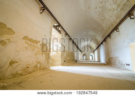 Long Corridor In Abandoned Fortress