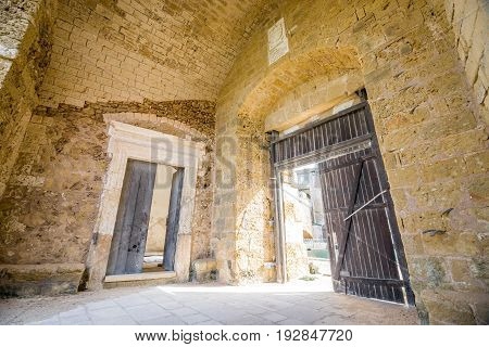 Two Wooden Old Doors In The Medieval Fortress