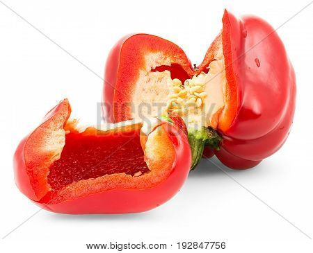 Red Bell Pepper. Isolation On A White Background With Clipping Paths.