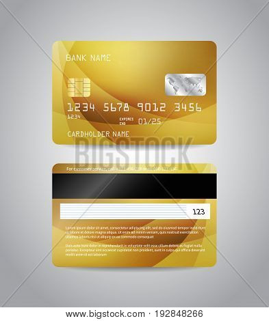 Realistic detailed credit cards set with colorful gold abstract design background. Golden card. Front and back side template. Money, payment symbol. Vector illustration EPS10