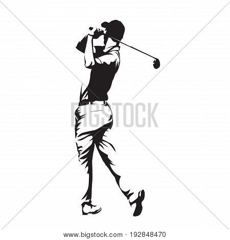 Golf player abstract vector silhouette, golf swing