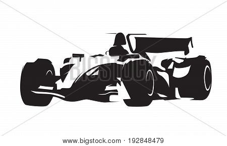 Formula racing car, isolated abstract vector silhouette