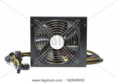 Computer power supply fan with cable isolated on white background