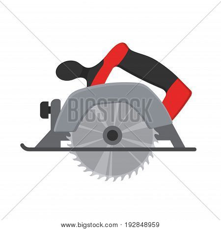 Electric Circular saw wood cutter isolated ot white background. Professional instrument, working tool. Vector illustration