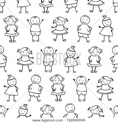 Seamless Vector Pattern - People In Children's Style