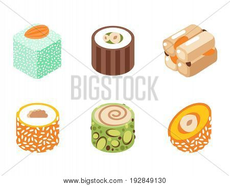 Collection of east delicious dessert isolated on white sweets food confectionery homemade assortment vector illustration. Chocolate cake tasty bakery homemade decoration turkish assortment.