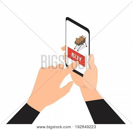 Shopping online vector concept. Man hand touching screen on modern digital smartphone. -stock vector