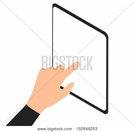 Man hand touching screen on modern digital tablet pc. -stock vector