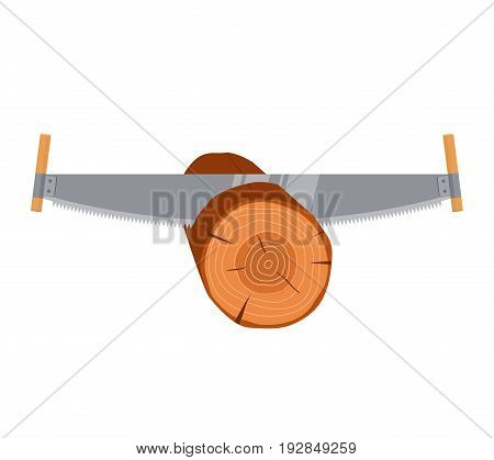 Two man saw sawing wood tree isolated on white background. Professional instrument, working tool. Vector illustration