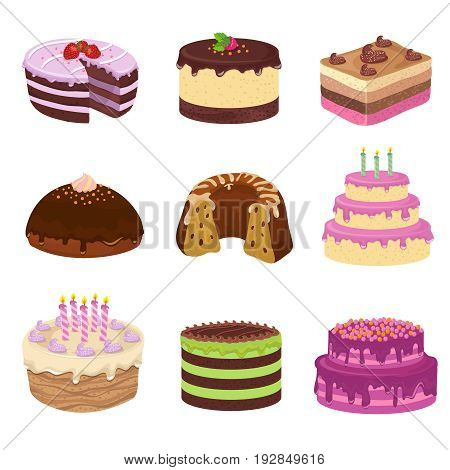 Birthday party vector tasty cakes. Anniversary decorating cake and cupcakes. Birthday and wedding cake with cream for celebration illustration