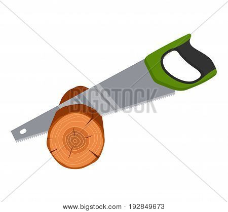 Hand saw sawing wood tree isolated on white background. Tools carpenter, repairmen. Vector illustration