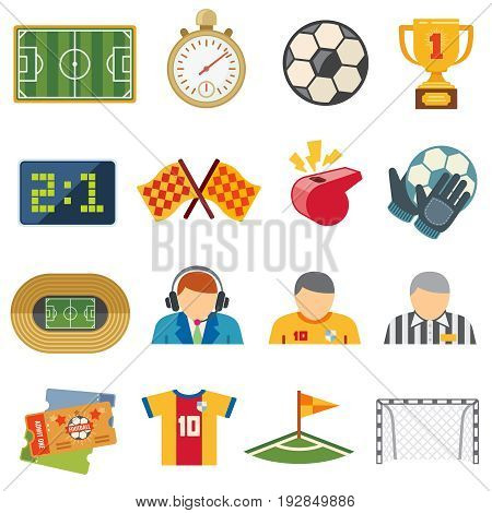 Football sports flat vector icons. Soccer game symbols. Football game team, trophy and ticket illustration