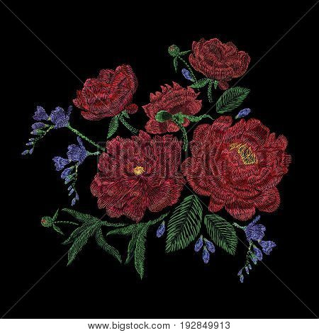 Embroidered composition with peonies, wild and garden flowers, buds and leaves. Satin stitch embroidery, floral design on black background. Folk line trendy pattern for clothes, dress, fabric, decor