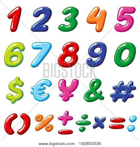 Vector rainbow candy numbers and glossy funny cartoon children alphabet symbols. Cartoon number font colorful for education children illustration
