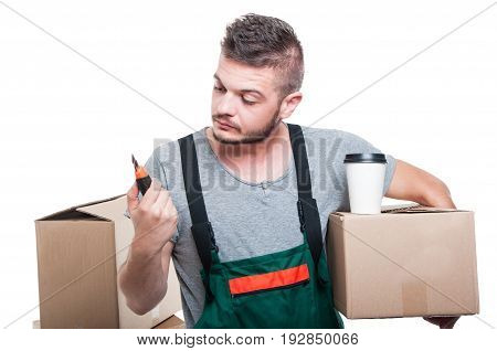 Mover Man Holding Cardboard Box Coffee And Cutter