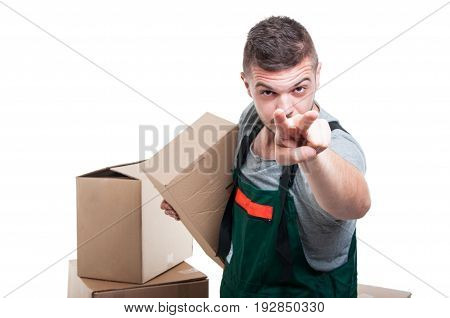 Mover Guy Holding Cardboard Box Making Watching You Gesture