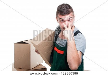Mover Guy Holding Cardboard Box Making Look At Me Gesture