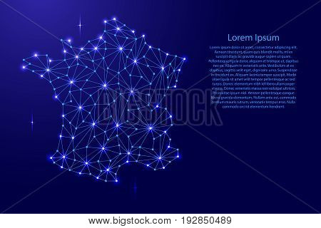 France map of polygonal mosaic lines rays and space stars of vector illustration.