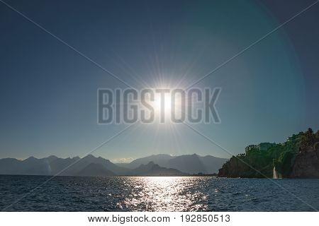 View Of Antalya Seacoast, Mediterranean Sea At Sunset, Antalya, Turkey