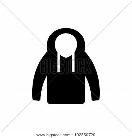 Simple icon of winter jacket. Clothing, outerwear, hoodie. Clothes concept. Can be used for topics like shopping, fashion, style