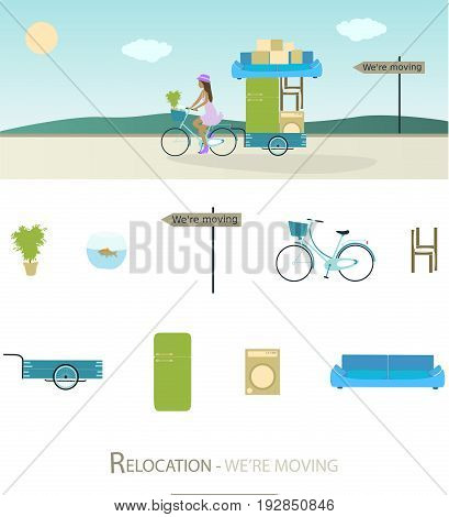 Relocation. Girl on bike with trailer and furniture. Sign : We're moving.