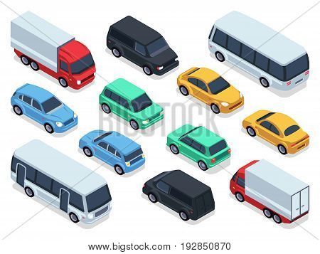 Isometric vehicles and cars for 3d city traffic map. Vector urban transport set. Transport car isometric, auto car 3d style illustration