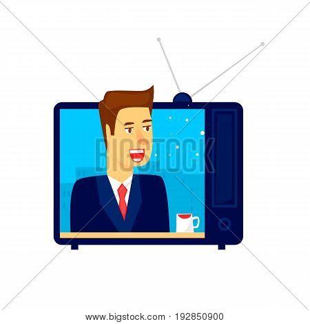 News on TV. Flat vector illustration in cartoon style.