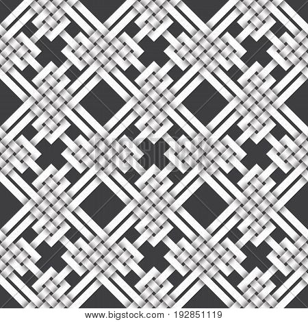 Abstract repeatable pattern background of white twisted strips. Swatch of intertwined zigzag and straight lines. Volumetric seamless pattern in modern style.
