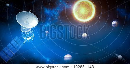 3d image of blue solar satellite against graphic image of planets and sun