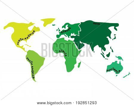 Multicolored world map divided to six continents in different colors - North America, South America, Africa, Europe, Asia and Australia Oceania. Simplified silhouette blank vector map with labels.