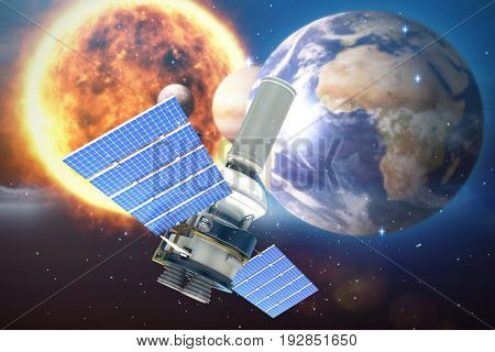 3d image of modern solar power satellite against white background against digital composite image of solar system